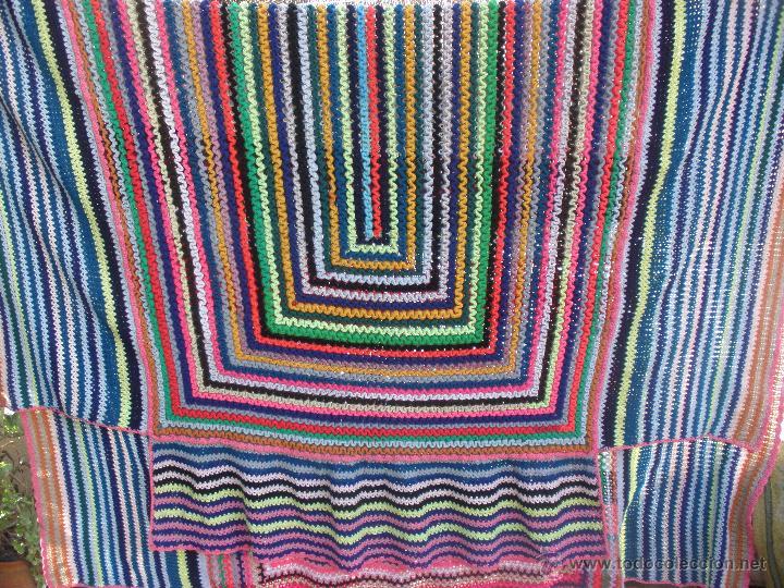 Vintage: Manta o Colcha multicolor en ganchillo para cama de 1,20 a matrimonio. Colcha ganchillo - Foto 6 - 51321849