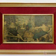 Vintage: LAMINA SOBRE TABLEX ENMARCADA EN TELA Y MARCO VINTAGE DORADO- 52 X 42 CM. Lote 51375933