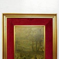 Vintage: LAMINA SOBRE TABLEX ENMARCADA EN TELA Y MARCO VINTAGE DORADO- 52 X 42 CM. Lote 51375955