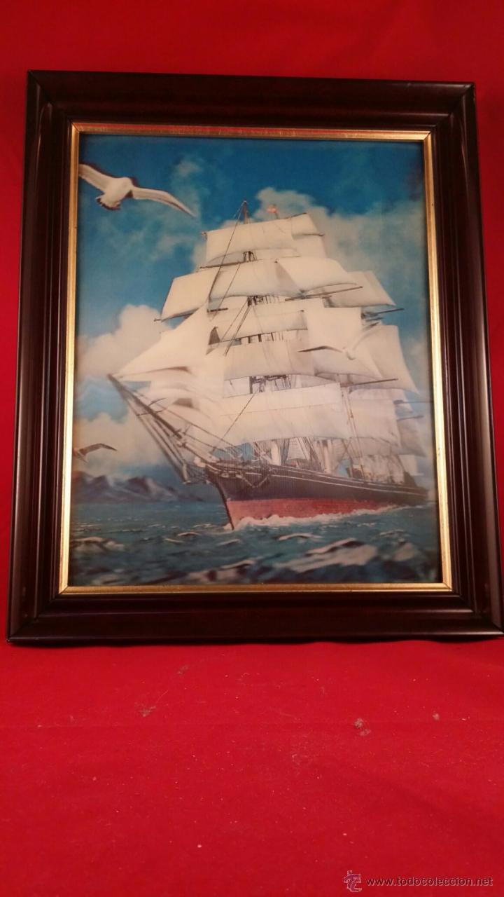 lamina de barco 3d con marco de madera. años 60 - Comprar en ...