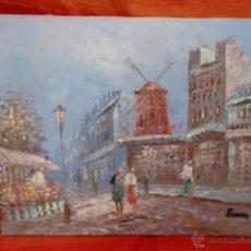 Vintage: PRECIOSO CUADRO PAISAJE DE PARIS, MOULIN ROUGE, BURNETT. VINTAGE. Lote 54606169