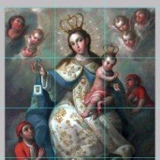 Vintage: PRECIOSO RETABLO DE 12 AZULEJOS 10X10CTM DE LA VIRGEN DE LA MERCED. Lote 51666522