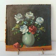 Vintage: PEQUEÑO BODEGON DE FLORES, OLEO SOBRE TABLEX- 15 X 15 CM. Lote 51745989