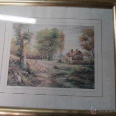 Vintage: LAMINA ENMARCADA, PAISAJE, CON MARCO DORADO. Lote 51998531