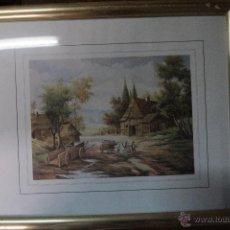 Vintage: LAMINA ENMARCADA, PAISAJE, CON MARCO DORADO. Lote 51998546