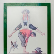 Vintage: LÁMINA DE NORMAN ROCKWELL- ENMARCADA EN MADERA- 41,5 X 31,5 CM. Lote 52418981