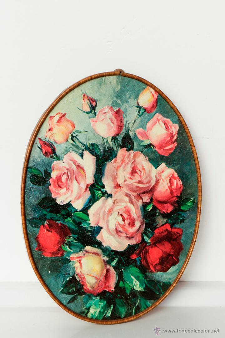 marco ovalado con flores rosas 22,5 x 16,5 cm - Comprar en ...