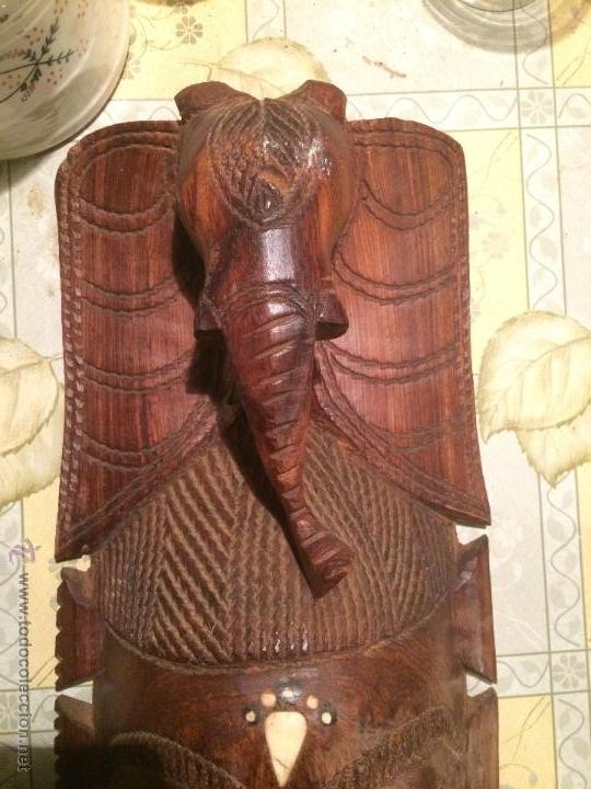 Vintage: antigua mascara tribal vintage de madera ~ maya azteca ~ grande - Foto 2 - 52753225