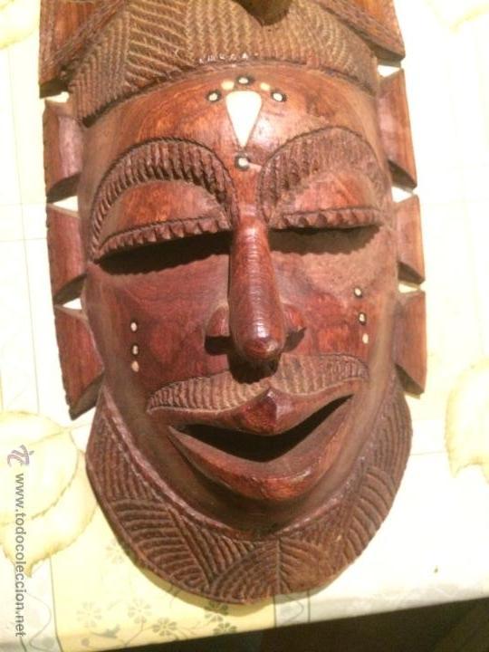 Vintage: antigua mascara tribal vintage de madera ~ maya azteca ~ grande - Foto 3 - 52753225