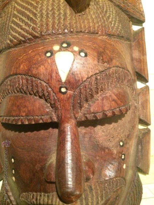 Vintage: antigua mascara tribal vintage de madera ~ maya azteca ~ grande - Foto 4 - 52753225