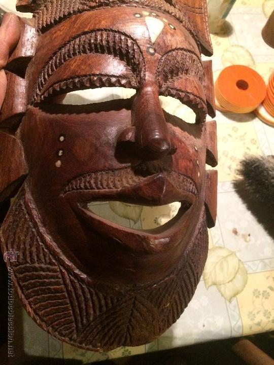 Vintage: antigua mascara tribal vintage de madera ~ maya azteca ~ grande - Foto 7 - 52753225