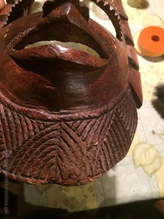 Vintage: antigua mascara tribal vintage de madera ~ maya azteca ~ grande - Foto 8 - 52753225
