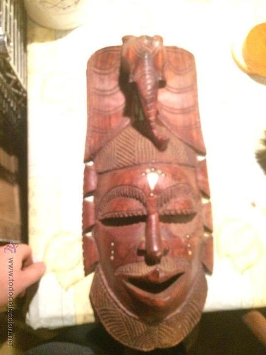 Vintage: antigua mascara tribal vintage de madera ~ maya azteca ~ grande - Foto 9 - 52753225