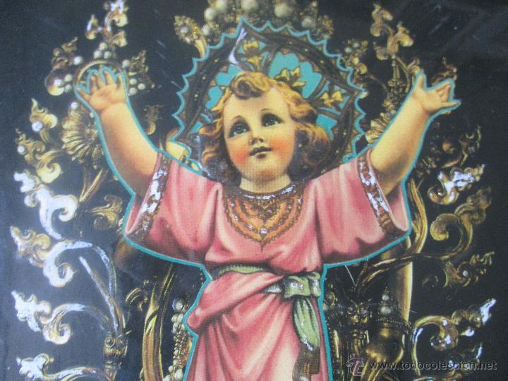 Vintage: CUADRO KITCH EN MADERA DEL NIÑO JESÚS AÑOS 60 - Foto 4 - 53182298
