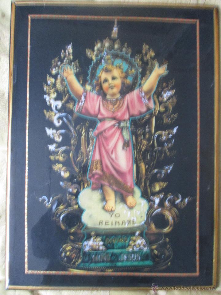 Vintage: CUADRO KITCH EN MADERA DEL NIÑO JESÚS AÑOS 60 - Foto 6 - 53182298