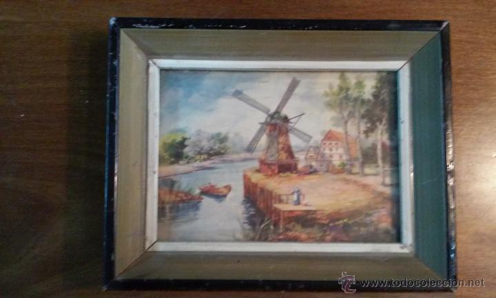 Vintage: Dos decorativos cuadritos. Madera y cristal. Láminas. 15 x 12 cm - Foto 2 - 53360296