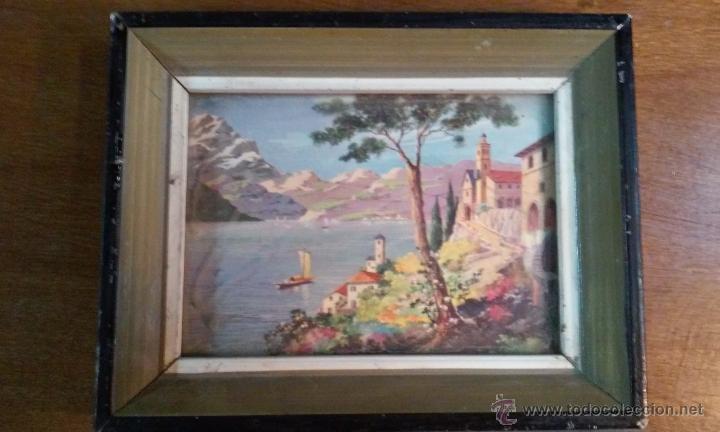 Vintage: Dos decorativos cuadritos. Madera y cristal. Láminas. 15 x 12 cm - Foto 3 - 53360296