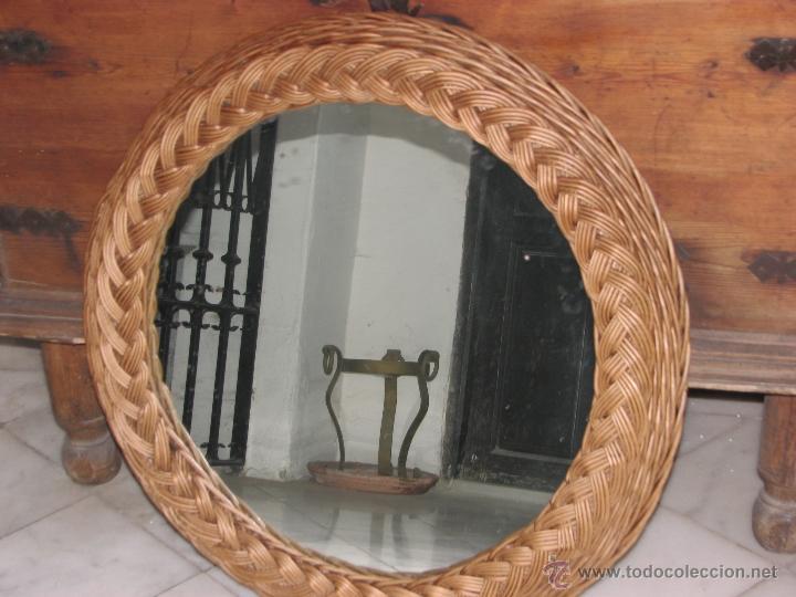 Espejo con marco de mimbre comprar en todocoleccion 53488501 - Espejos de mimbre ...