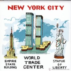 Vintage: AZULEJO NEW YORK CITY EMPIRE STATE WORLD TRADE CENTER STATUE OF LIBERTY AÑOS 70-80. Lote 53545942