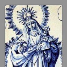 Vintage: PRECIOSO RETABLO DE DOS AZULEJOS 15X15 DE LA VIRGEN CON EL NIÑO JESUS EN BRAZOS.. Lote 53597251
