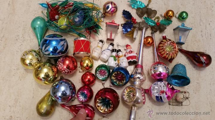 lote decoracion arbol de navidad vintage aos bolas de cristal remate piruli y varios luces
