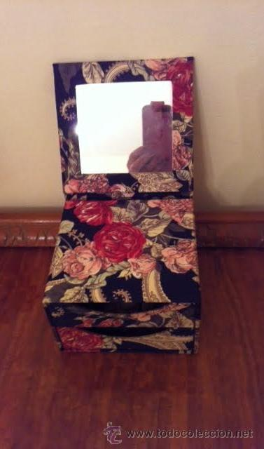 Vintage: Caja joyero forrado con tela muy vintage con espejo y cajones, - Foto 2 - 53712626