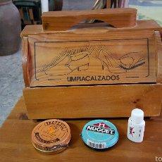 Vintage: MALETA LIMPIABOTAS CON SUS BOTES DE PRODUCTOS PARA LIMPIEZA. Lote 53802209