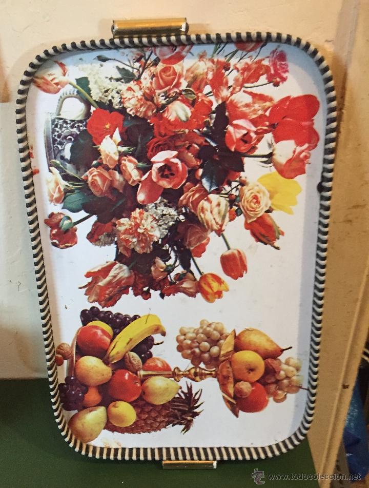 Bandeja Años 60 Con Dibujos Flores Y Frutas Vendido En