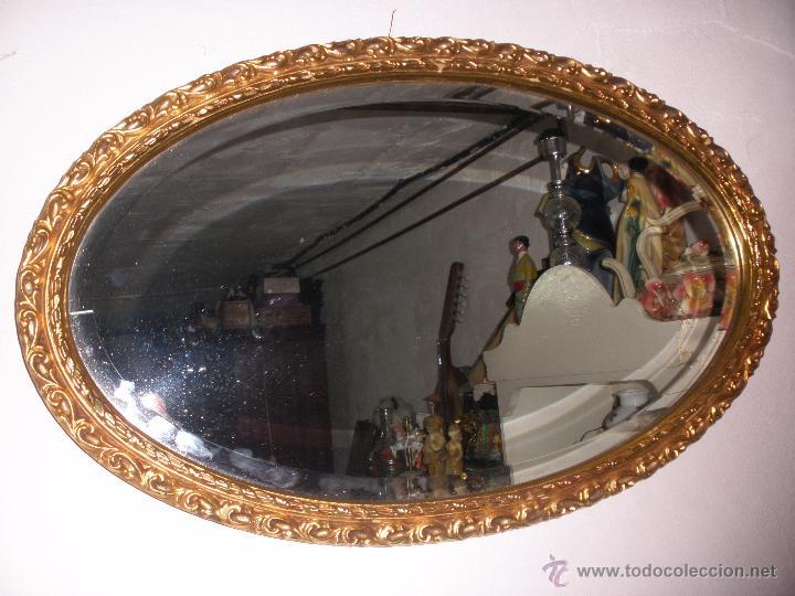 antiguo espejo viselado con marco ovalado dorad - Comprar en ...