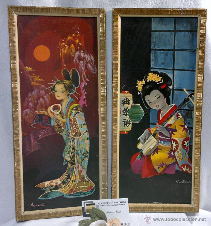 Geishas pareja de bonitos cuadros decorativos comprar for Cuadros decorativos clasicos