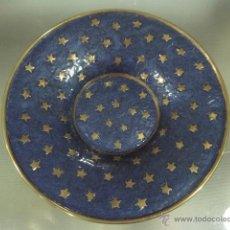 Vintage: PLATO BRONCE ESMALTADO AZUL. Lote 54510134
