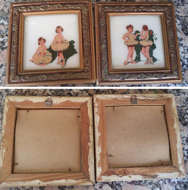 vintage 2 antiguos cuadro bailarinas pintadas s - Comprar en ...