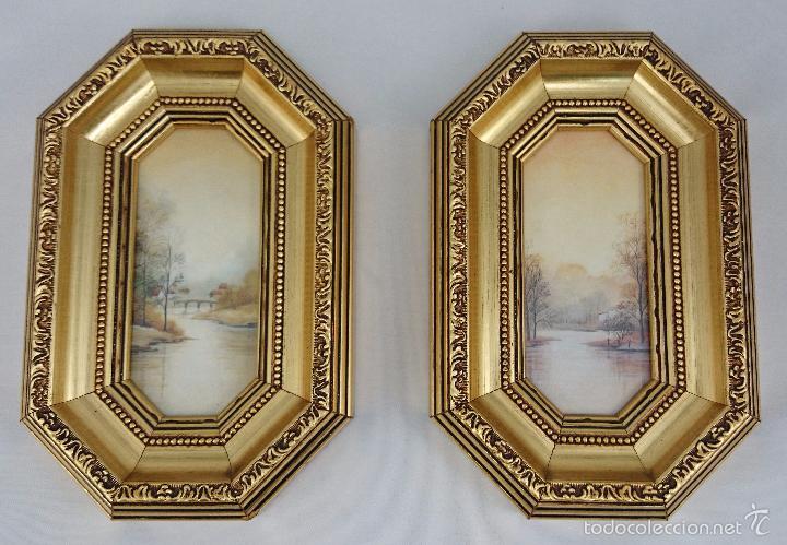 Pareja de cuadros con paisajes marcos de madera comprar - Marcos de cuadros vintage ...