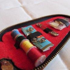 Vintage: ANTIGUO Y COMPLETO ESTUCHE KIT - SET DE COSTURA DE VIAJE EN PIEL. Lote 55778554