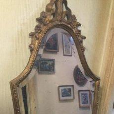 Vintage: ESPEJO DE MADERA PINTADO PAN DE ORO. Lote 55844746