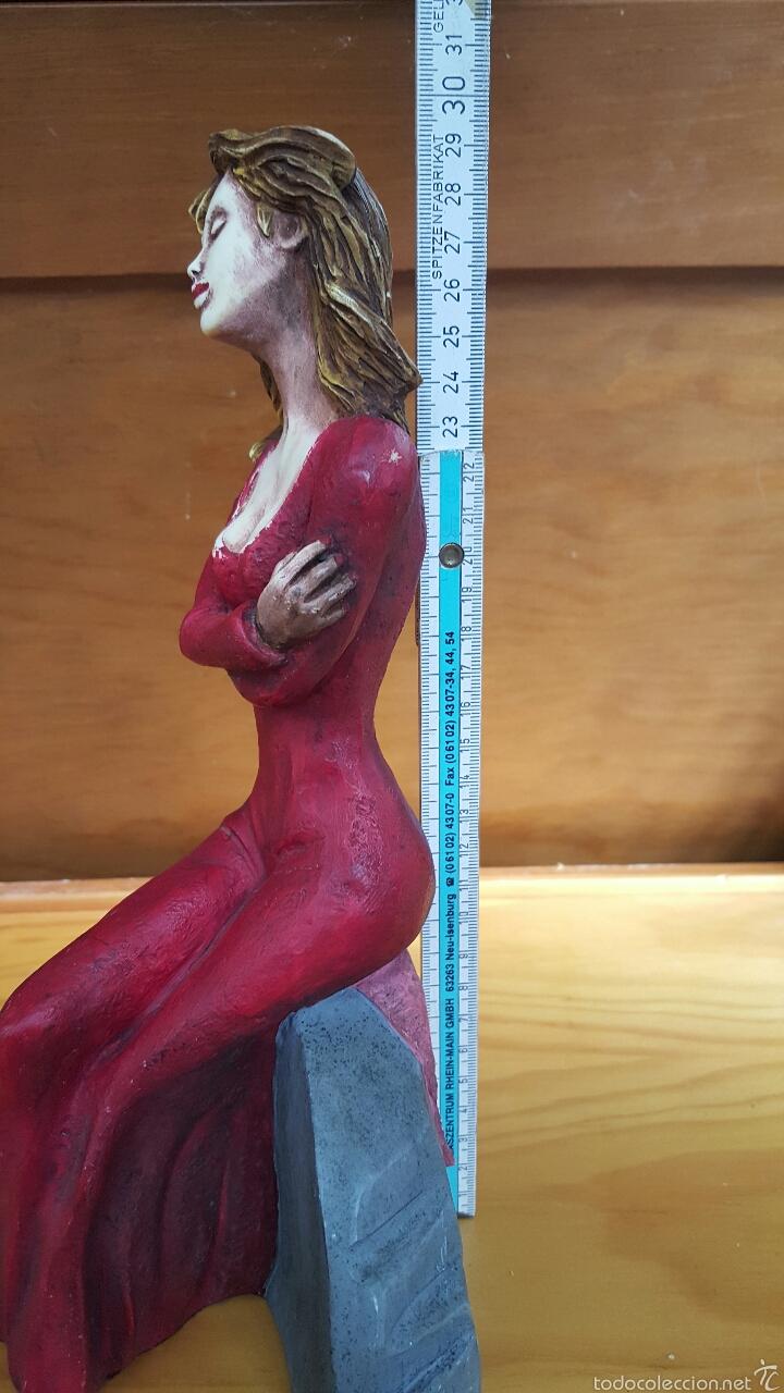 Vintage: Figura mujer sentada, vintage. 30cm - Foto 4 - 55908819