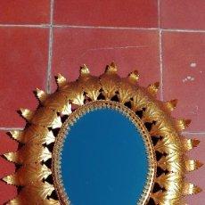 Vintage: ESPEJO SOL OVALADO METAL DORADO VINTAGE ANTIGUO. Lote 56031002