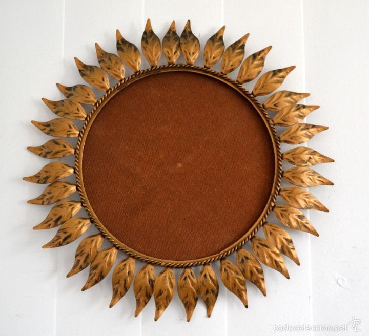 Marco de espejo sol vintage redondo a os 6 comprar for Espejo redondo vintage