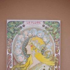 Vintage: CUADRO PÓSTER LÁMINA MODERNISTA DEL PINTOR MUCHA PLASTIFICADA DE GRANDES DIMENSIONES SOBRE TABLA. Lote 56086675