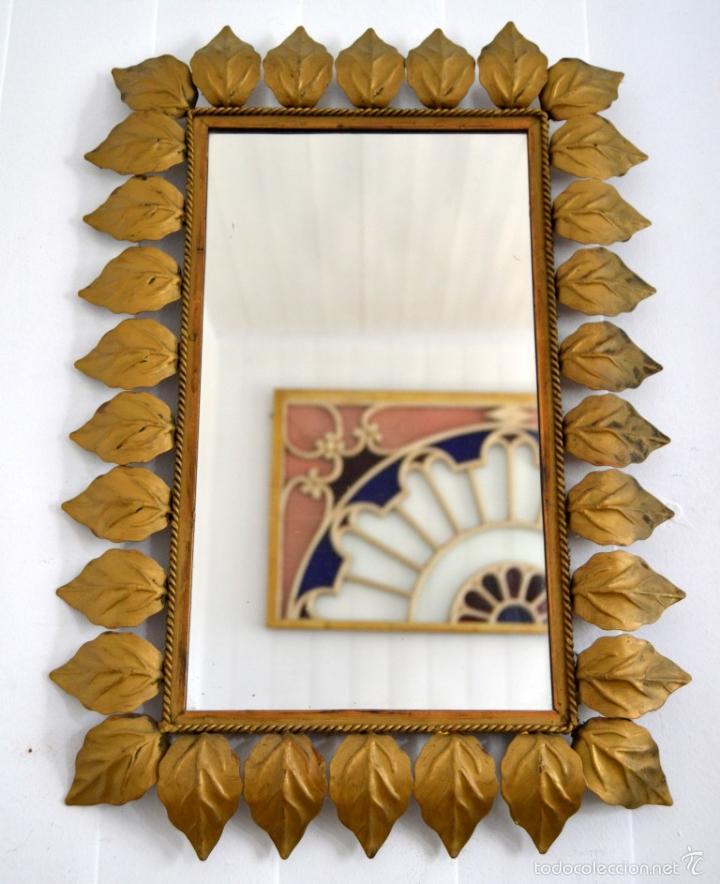 espejo sol vintage * marco con hojas de metal d - Comprar en ...
