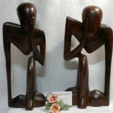 Vintage: PAREJA DE FIGURAS AFRICANAS EN MADERA. VINTAGE.. Lote 56283920
