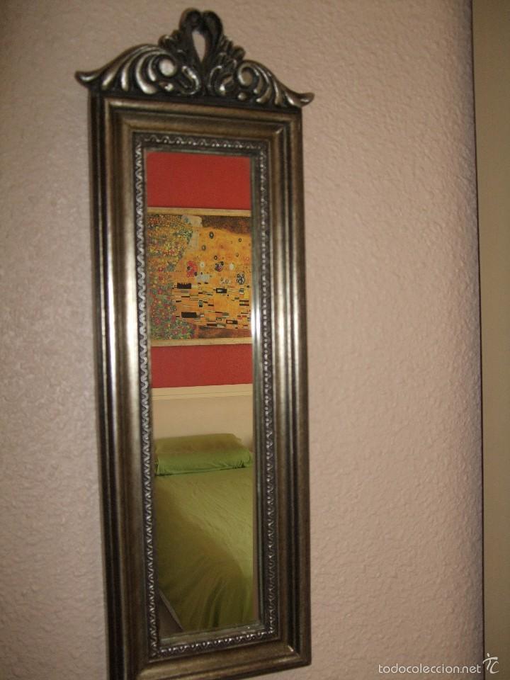 vintage retro vintage espejo plateado marco alargado ideal columnas rectangular color plata
