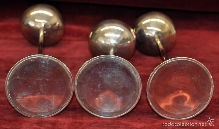 Vintage: BONITO TRIO DE CANDELEROS EN PLATA DE LEY DE APROXIMADAMENTE AÑOS 60 - Foto 4 - 56481336