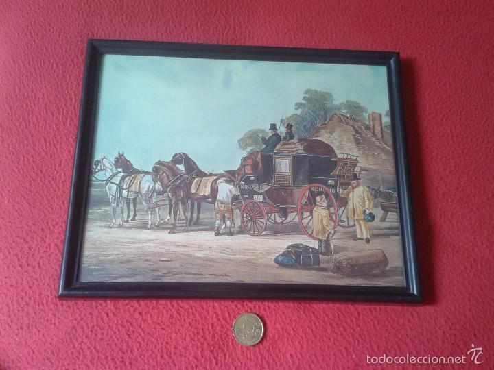 BONITO CUADRO CON MARCO CARRUAJE COCHE CARRO DE CABALLOS ÉPOCA VICTORIANA O SIMIL. VER (Vintage - Varios)