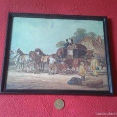 Vintage: BONITO CUADRO CON MARCO CARRUAJE COCHE CARRO DE CABALLOS ÉPOCA VICTORIANA O SIMIL. VER. Lote 56544492