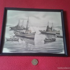 Vintage: BONITO CUADRO CON MARCO PLAYA CON BARCOS BARCO BARCAS BARCA VER FOTO/S. IDEAL DECORACION. Lote 56544792