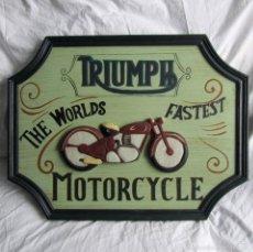 Vintage: CUADRO MOTOCICLETAS TRIUMPH RELIEVE EN MADERA. Lote 57072602