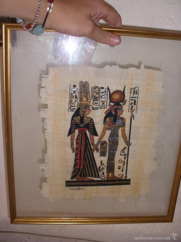 Marco con cristal y papiro egipcio cuadro con p comprar for Cuadro cristal sin marco