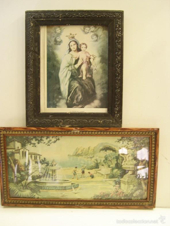 LOTE DE 2 ANTIGUOS CUADROS DE PUEBLO (Vintage - Decoración - Varios)