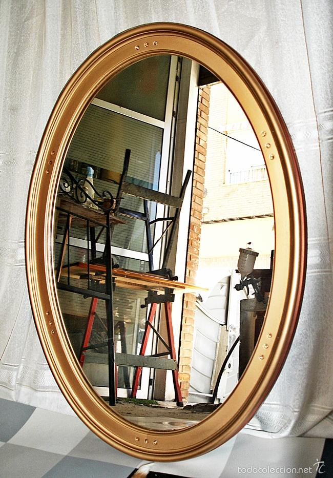 Espejo ovalado marco de madera comprar en for Disenos de espejos tallados en madera